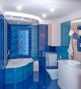 Фото синей плитки в ванной