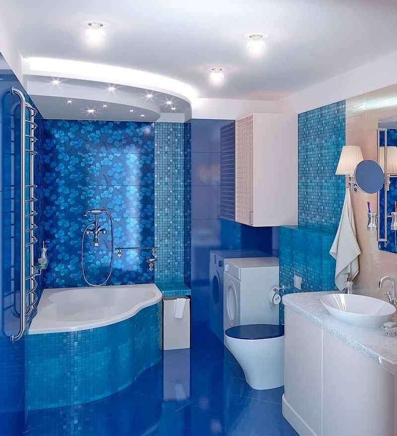 плитка для ванной фото синяя