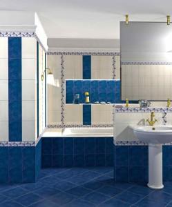 Фото синей плитки в дизайне ванной комнаты