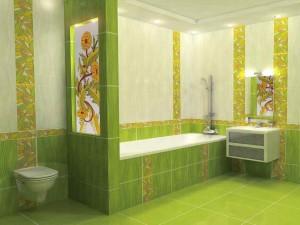Фото дизайна зеленой ванной комнаты