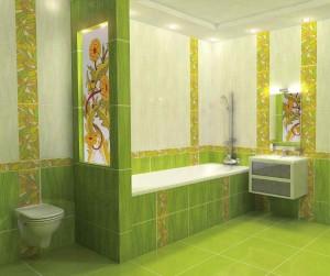 Фото дизайна зеленой ванной