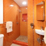 Оранжевая ванная комната